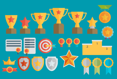 sporting event: Trophy and awards icons set.