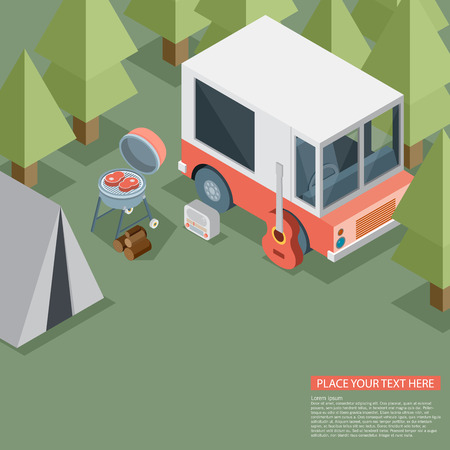 pixelart: Camping travel outdoor active vacation flat 3d isometric