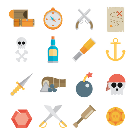 eyepatch: Pirate accessories symbols flat icons collection with wooden treasure chest and jolly roger flag abstract illustration