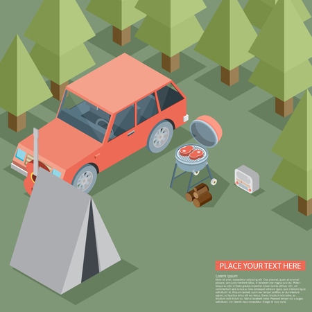chowder: Camping travel outdoor active vacation flat 3d isometric