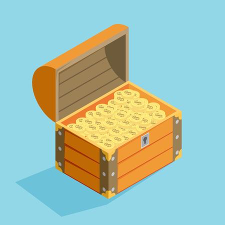 open treasure chest isolated flat isomertic design