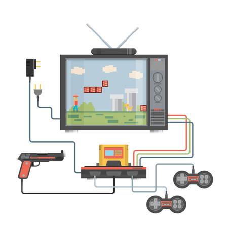 player controls: Flat design vector illustration concept of game environment, tools and essentials.