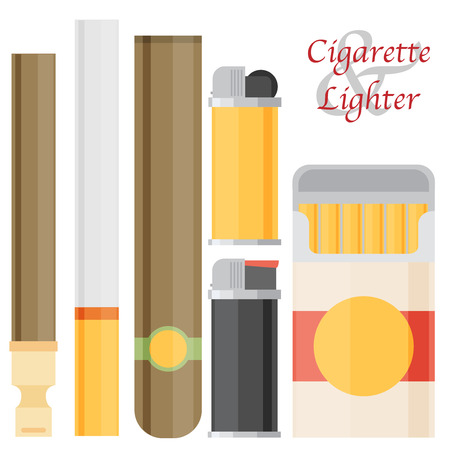 baccy: Cigarette and lighter set.