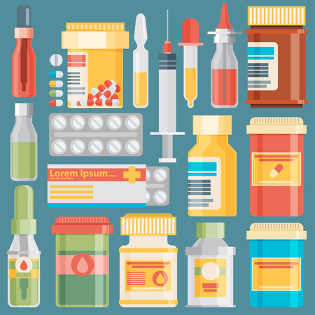 therapy group: Medicine bottles collection. Bottles of drugs, tablets, capsules and sprays. Vector illustration