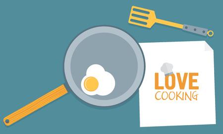 fryer: Fried egg on pan in kitchen conceptual vector illustration Illustration