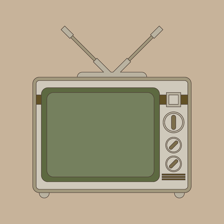 television show: Retro looking television. Flat vector Illustration