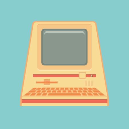 personal computer: Vintage personal computer. Vector illustration. Illustration