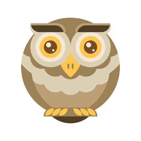 brown: Brown owl. Flat vector. Illustration