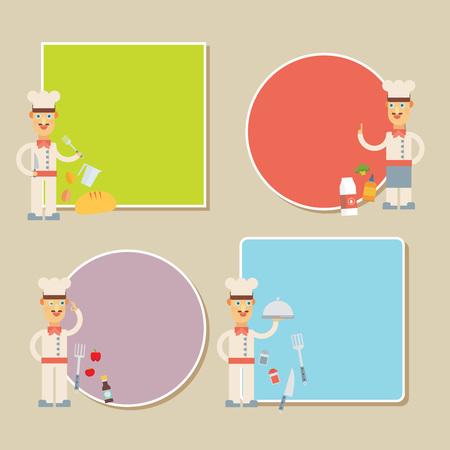 Chef Presenting Recipe Card. Flat vector set