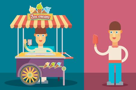 ice cream cart: Lucido colorato carretto dei gelati con l'illustrazione vettoriale persone.