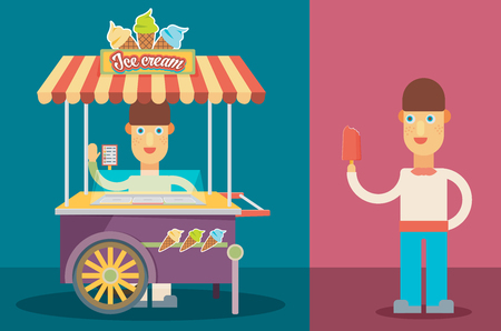 ice cream cart: Shiny colorful ice cream cart with people vector illustration.