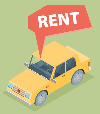 rent: Car for rent. Vector illustration.