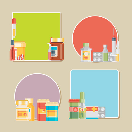 group therapy: Pill bottle with various pills and capsules. Vector labels.