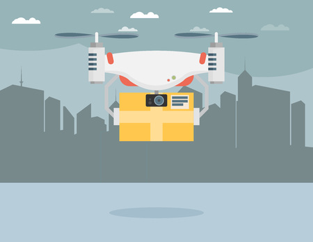unmanned: Remote air drone with a box in the city. Flat vector