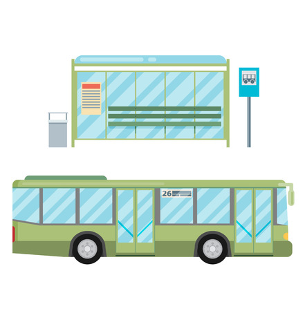 transit: modern flat design public transport items bus stop structure and city transit shorter distance bus, side view