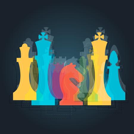 caballo de ajedrez: Piezas de ajedrez signo negocio y plantilla de identidad corporativa para el club de ajedrez o de la escuela de ajedrez. Est�ndar piezas de ajedrez vector icon set. Ajedrez colorida ilustraci�n vectorial Vectores
