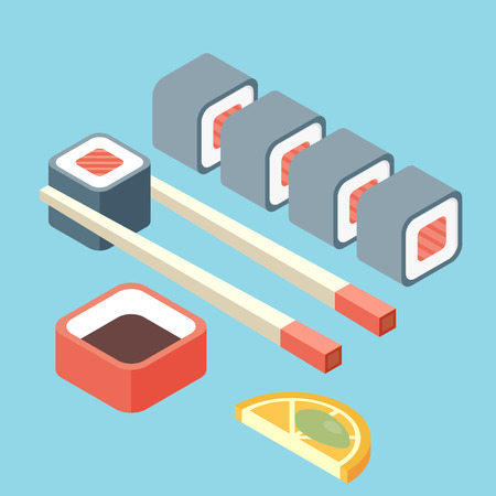 nori: Food illustration -set of sushi roll with nori. Modern 3d flat design isometric concept. Illustration