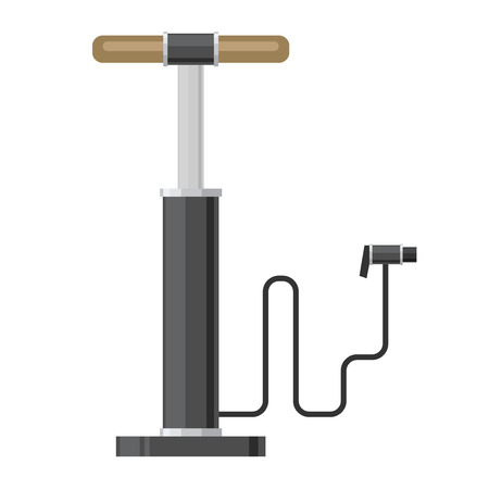 one wheel bike: picture of hand bicycle pump, flat style icon