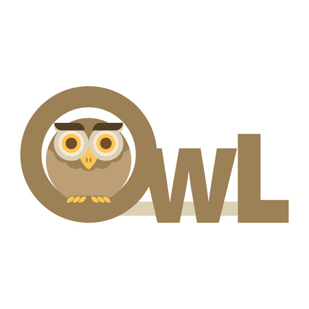 head wise: Brown owl. Flat vector. Illustration