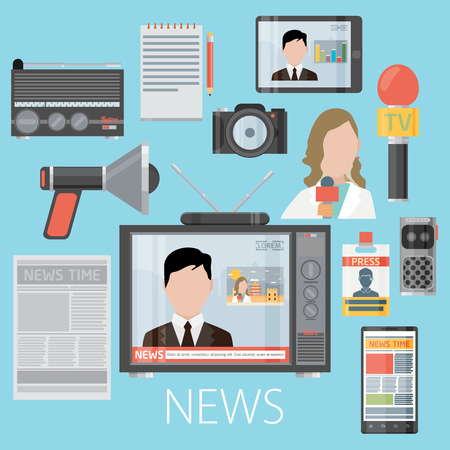 News cast journalism television radio press conference concept, vector illustration. Icons set in flat design style spokesperson, camera, interview, microphone, tv etc Stock Illustratie
