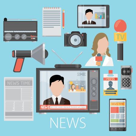 Nouvelles jeté télévision concept de la conférence de presse de la radio de journalisme, illustration vectorielle. Icônes fixés dans le style de design plat porte-parole, appareil photo, interview, microphone, tv etc Banque d'images - 47950164