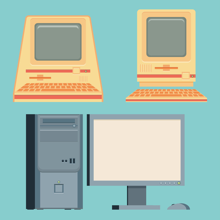 Vintage personal computers set. Vector illustration.