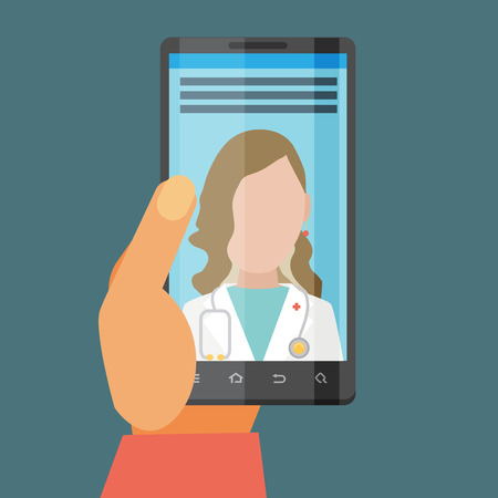 physician: Vector modern flat concept web banner design on hand holding mobile phone with medical assistance and doctor consultation online featuring abstract physician