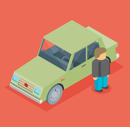leverage: Vector car isometric with man