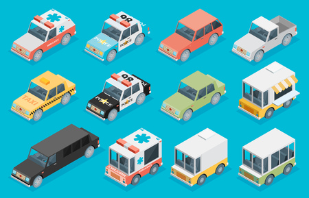 motor cop: Set of the isometric cars