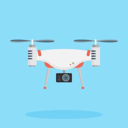 Drone met een camera die fotografie of video-opnames maakt. Vector kunst op geïsoleerde achtergrond. Plat ontwerp.