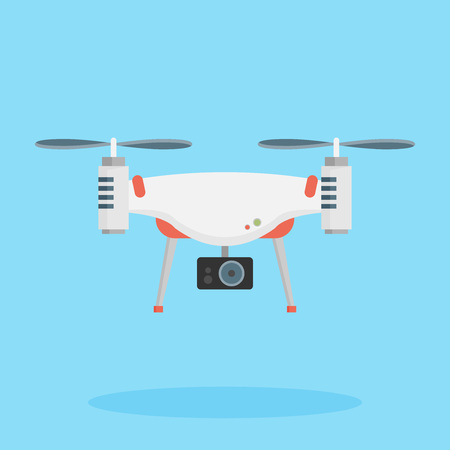 Drone with a camera taking photography or video recording . Vector art on isolated background. Flat design.