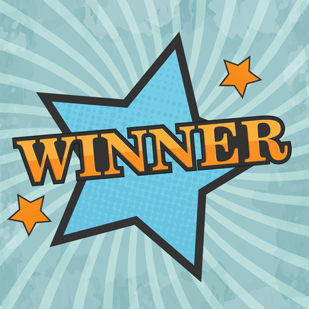 winner: Comic star, Winner, Vector illustration