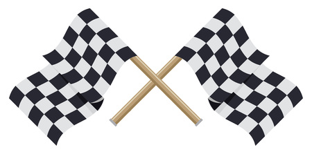 two crossed checkered flags: Two crossed checkered racing flags in flat style. Vector illustration.