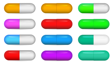 vitamin pills: Medical pills set, different colors vectors collection. Illustration