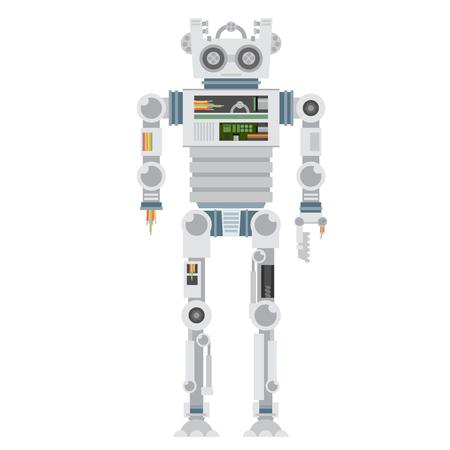 lunatic: Vector illustration of broken robot. Flat vector