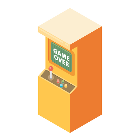 unsuccess: Retro arcade machine with game over message. Flat style vector illustration.