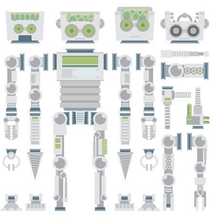 robot: atributos de dise�o de robots, partes del cuerpo y otros detalles de la imagen del vector conjunto de ilustraci�n. vector plana.