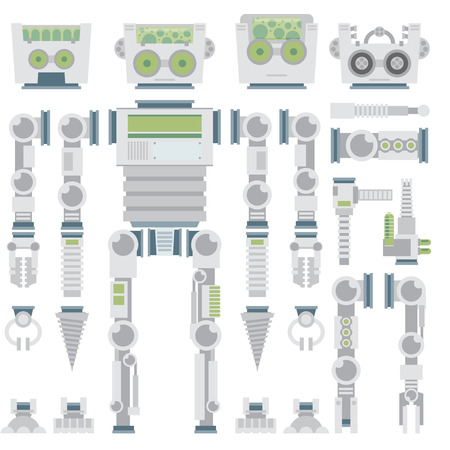robot toy: Robot design attributes,body parts and other details of vector image illustration set. Flat vector. Illustration