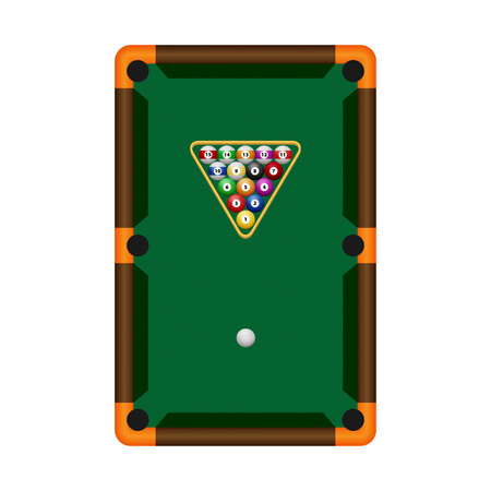 cue sticks: Pool table with balls. Vector illustration.