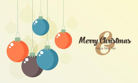 navidad elegante: Retro bolas, vector tarjeta de Navidad decorativos de Navidad