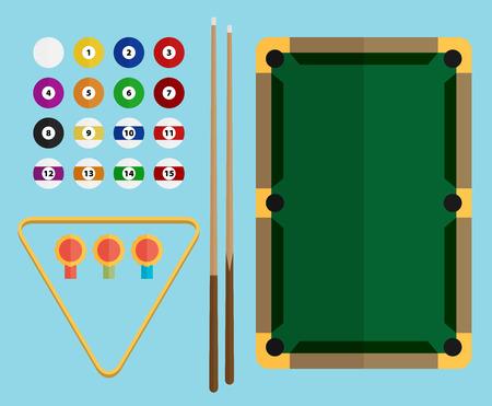 game of pool: Billiards flat illustration. Billiards pool game accessories.