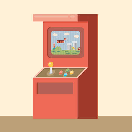 unsuccess: Retro arcade machine with game. Flat style vector illustration.