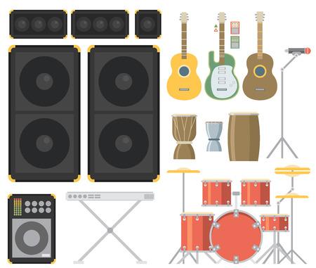 Cymbals: Musical instruments. Vector flat illustration