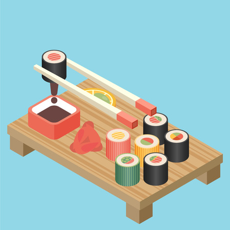 nori: Food illustration - sushi roll with nori. Modern 3d flat design isometric concept. Illustration