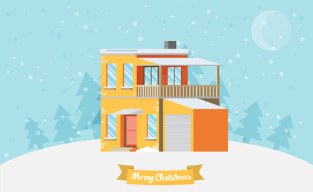 christmas house: Christmas card with house