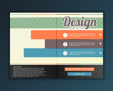 esp: Modern abstract brochure design for infographics, business design and website templates, cutout lines and numbers, retro colors. Esp 10 vector illustration Illustration