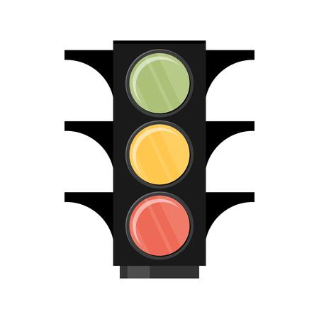交通: トラフィックの光。白い背景の上の単一のフラット アイコン。ベクトルの図。