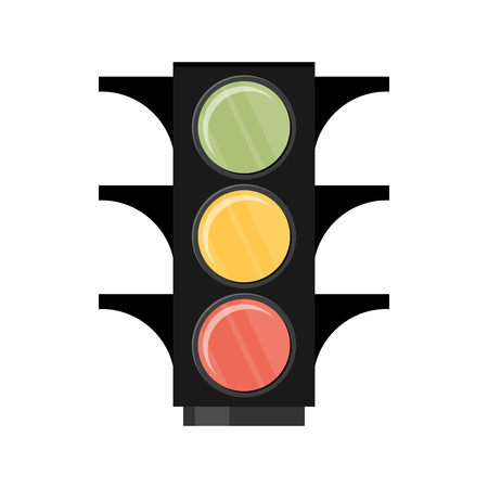señales trafico: Semáforo. Solo icono de plano sobre fondo blanco. Ilustración del vector. Vectores