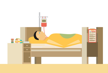 infirmary: Sick man is in bed.Vector flat