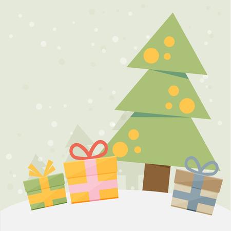 christmas greeting card: Christmas vintage greeting card. Vector illustration Illustration